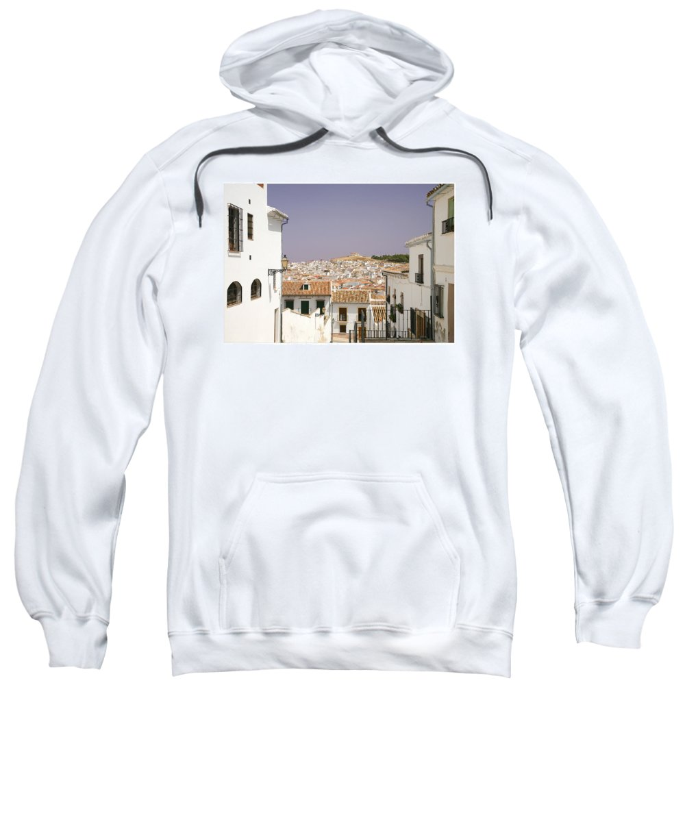 Antequera Sweatshirt featuring the photograph Looking Down Over Antequera From Near The Church Of Santa Maria La Mayor by Mal Bray