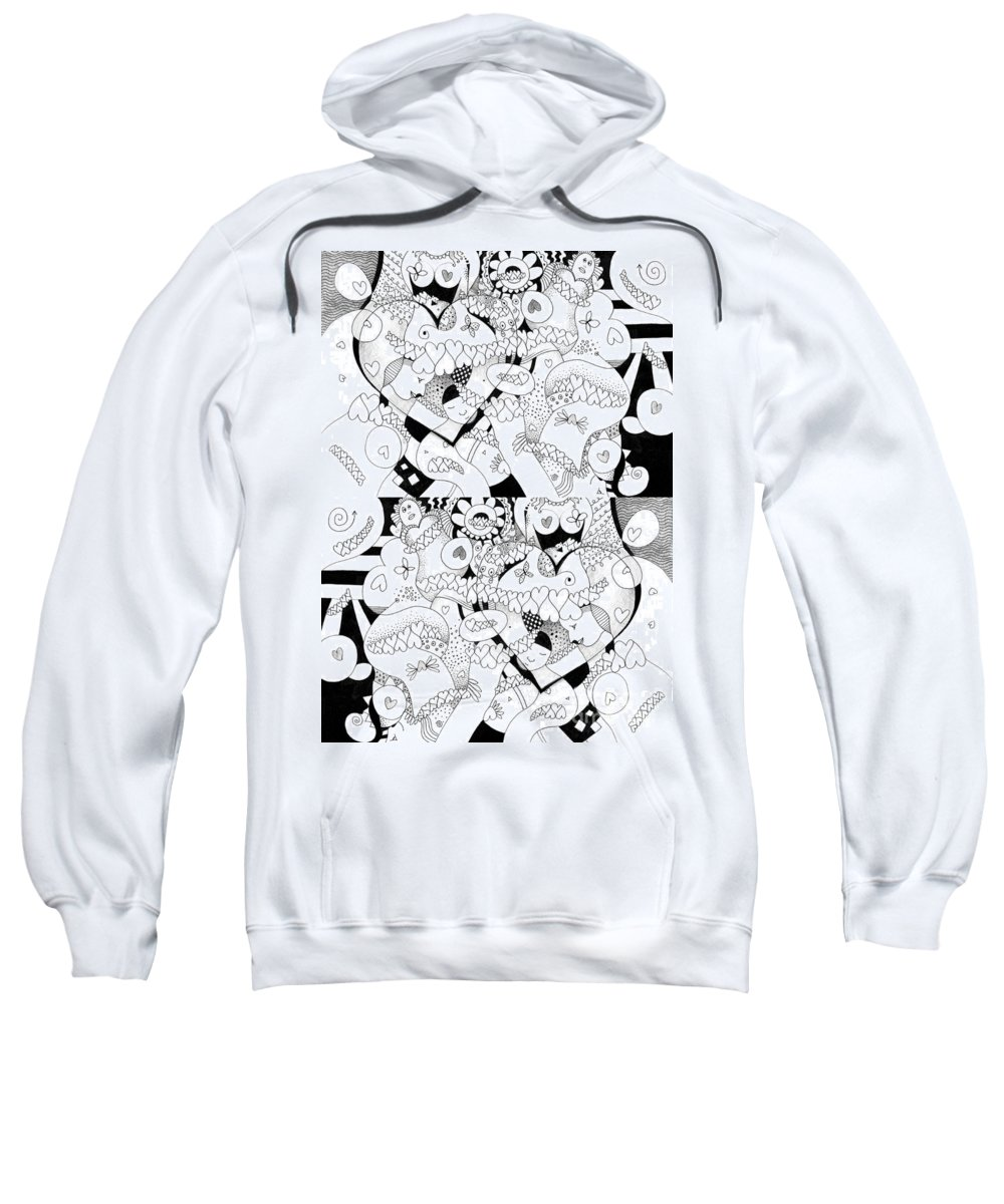 Figurative Abstraction Sweatshirt featuring the mixed media Looking For Love Take 2 by Helena Tiainen