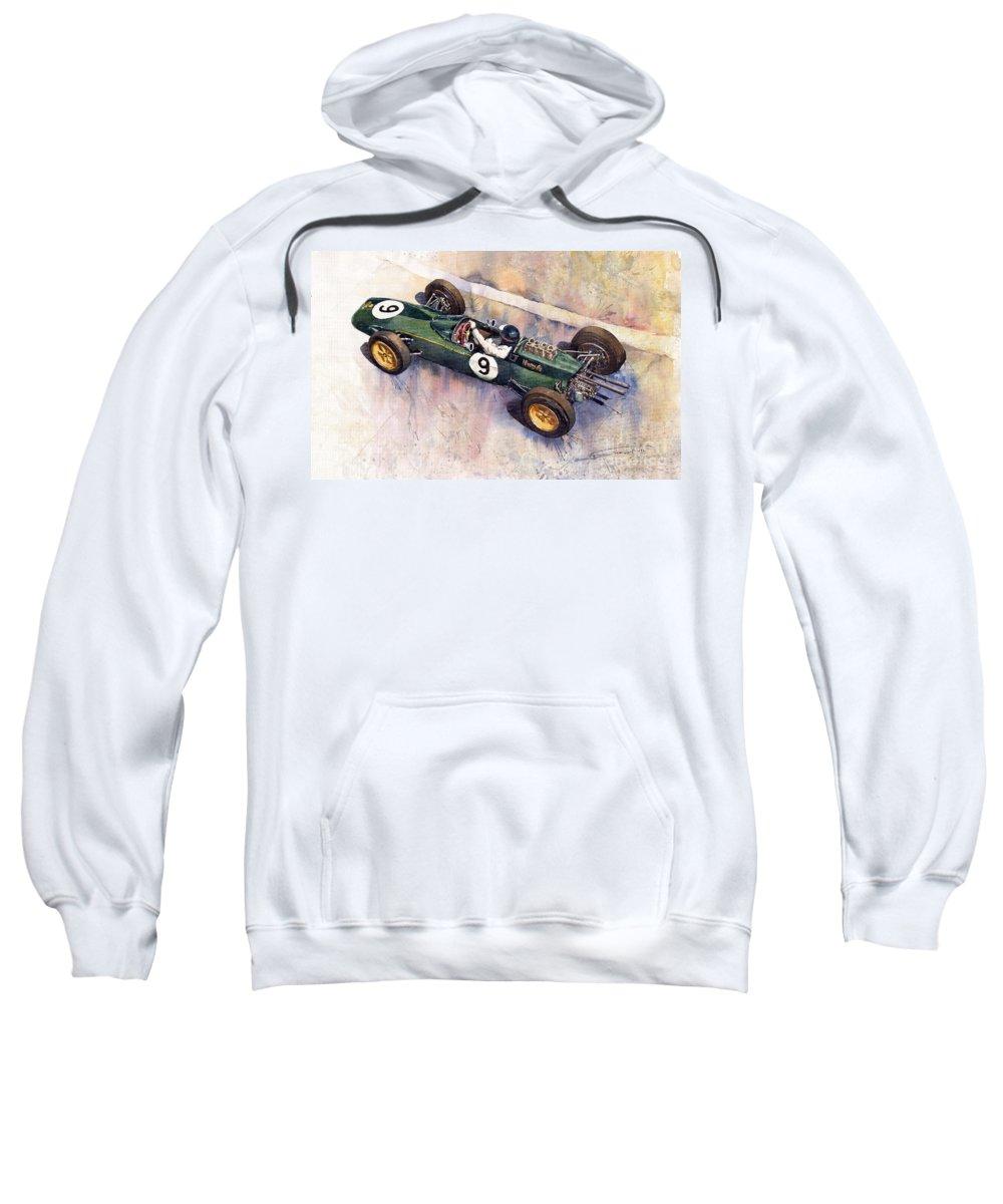 Watercolour Sweatshirt featuring the painting Lotus 25 F1 Jim Clark Monaco Gp 1963 by Yuriy Shevchuk
