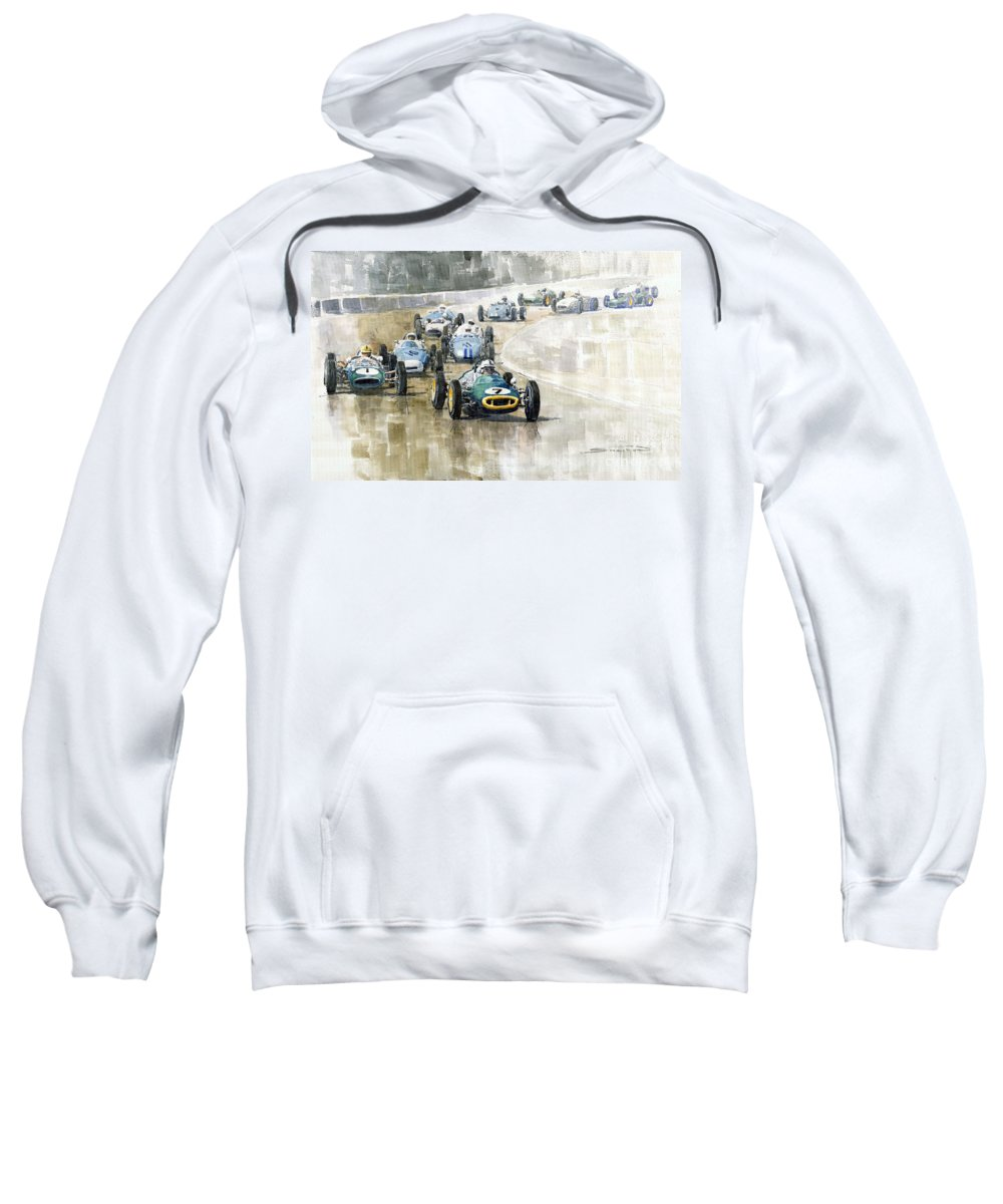 Automotive Sweatshirt featuring the painting 1961 Germany Gp #7 Lotus Climax Stirling Moss Winner by Yuriy Shevchuk