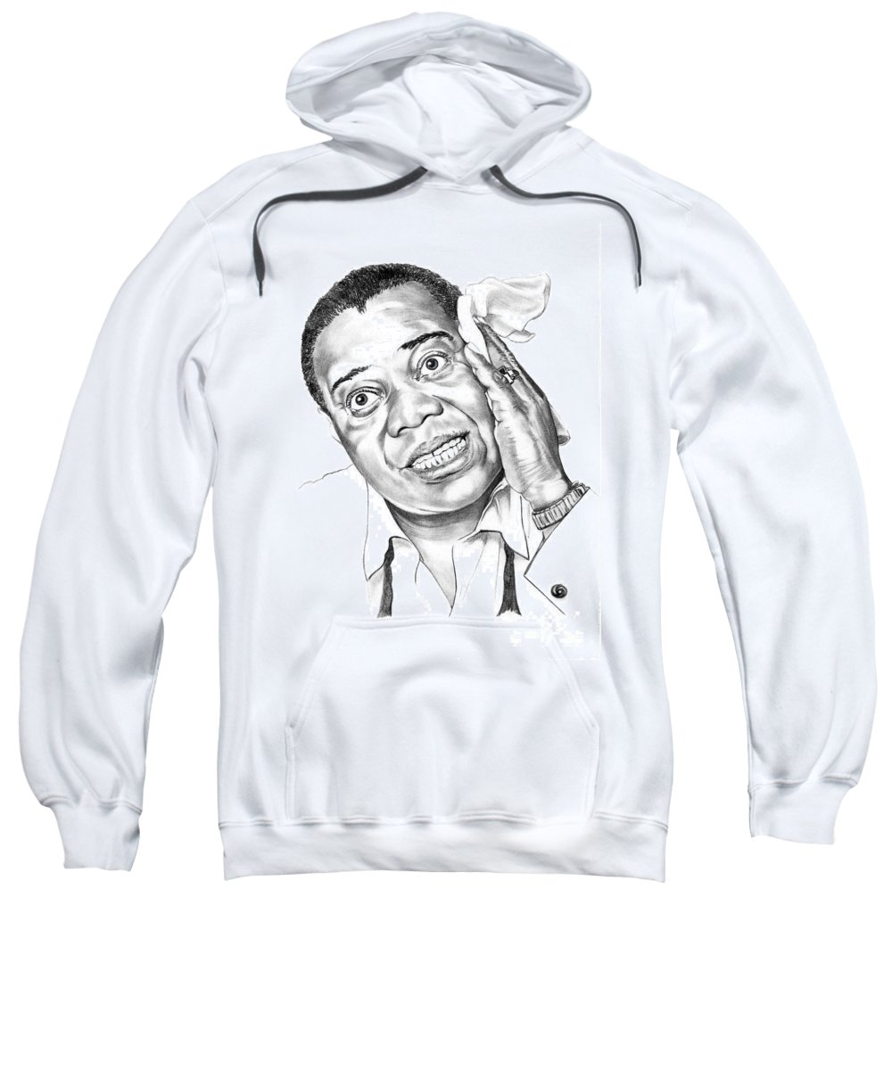 Music Sweatshirt featuring the drawing Louis Satchmo Armstrong by Murphy Elliott