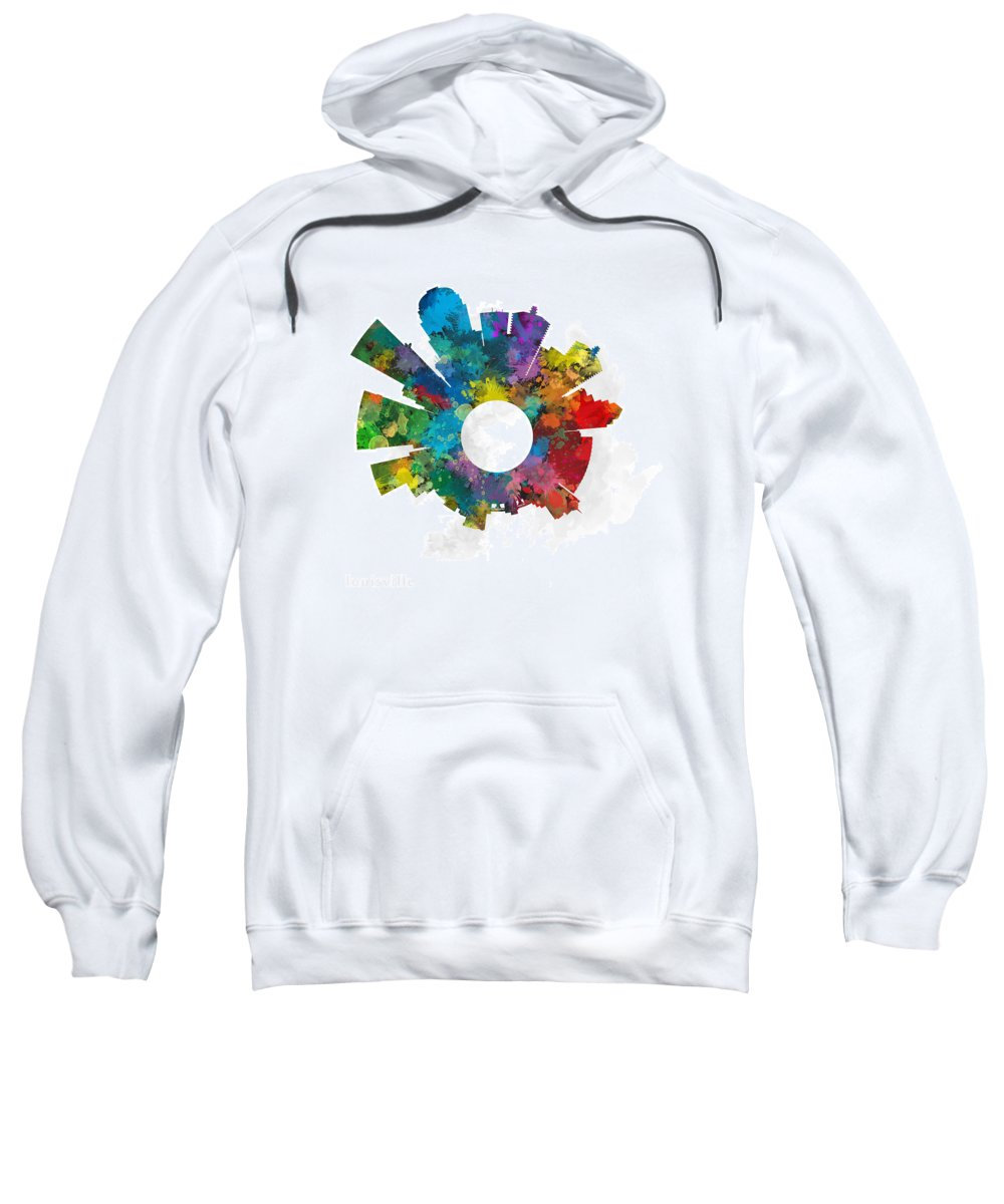 Map Sweatshirt featuring the digital art Louisville Small World Cityscape Skyline Abstract by Jurq Studio