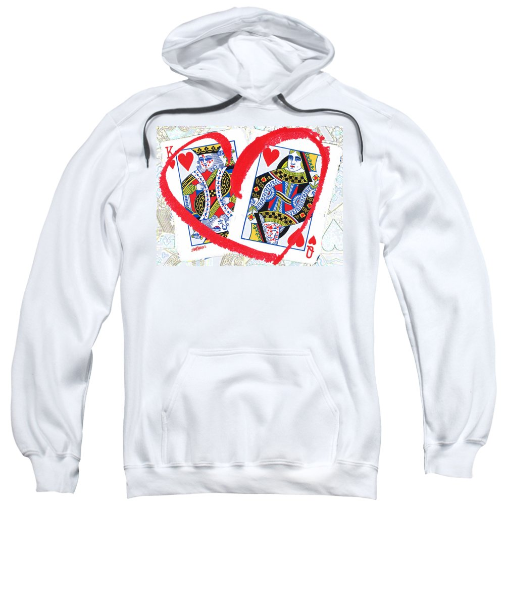King Of Hearts Sweatshirt featuring the mixed media Love Is In The Cards by Seth Weaver