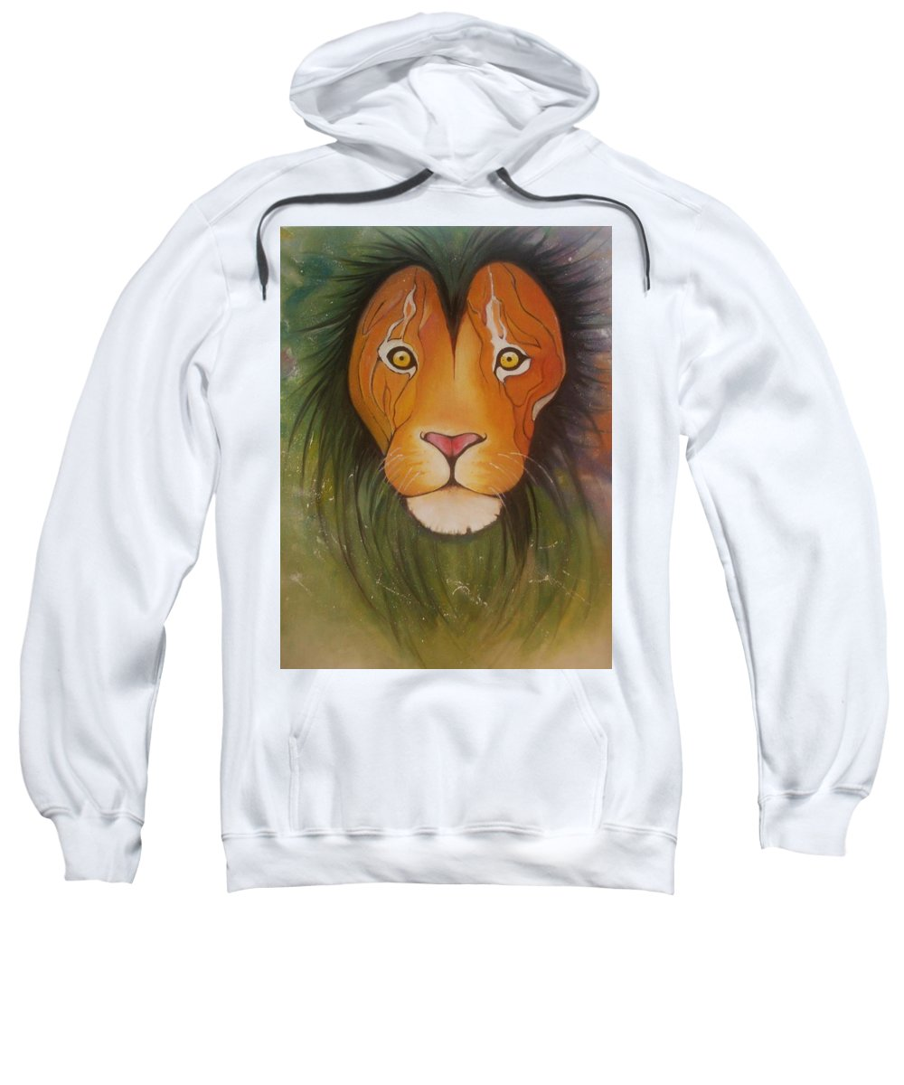 #lion #oilpainting #animal #colorful Sweatshirt featuring the painting Lovelylion by Anne Sue