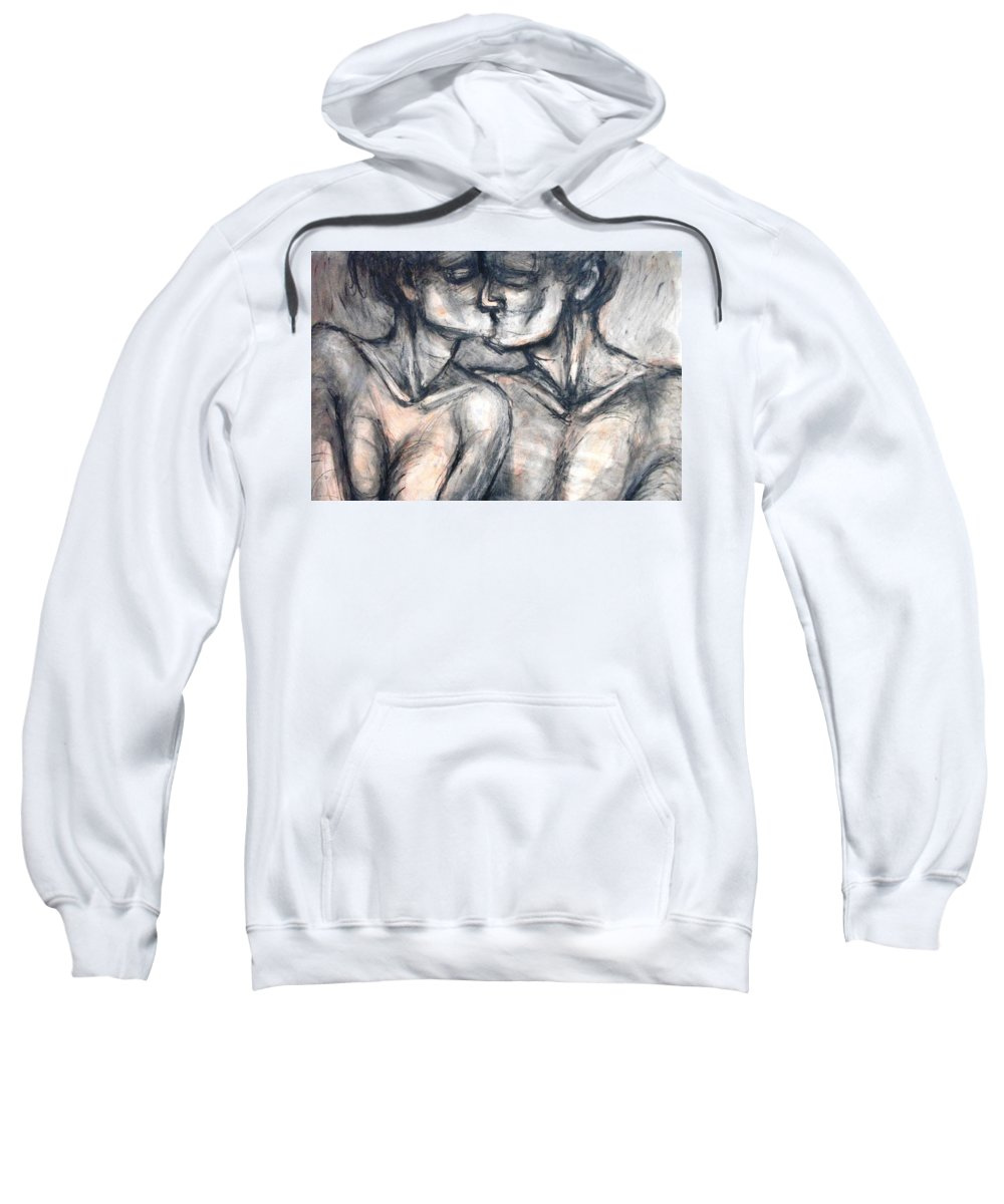 Original Sweatshirt featuring the painting Lovers - Kiss by Carmen Tyrrell
