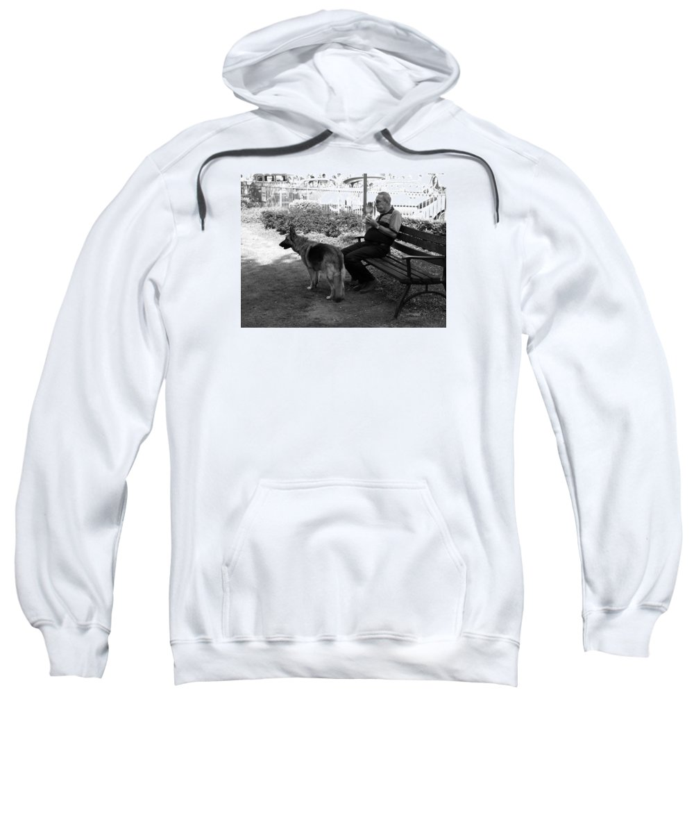 Street Scenes Sweatshirt featuring the photograph Lunch by Richard Denyer