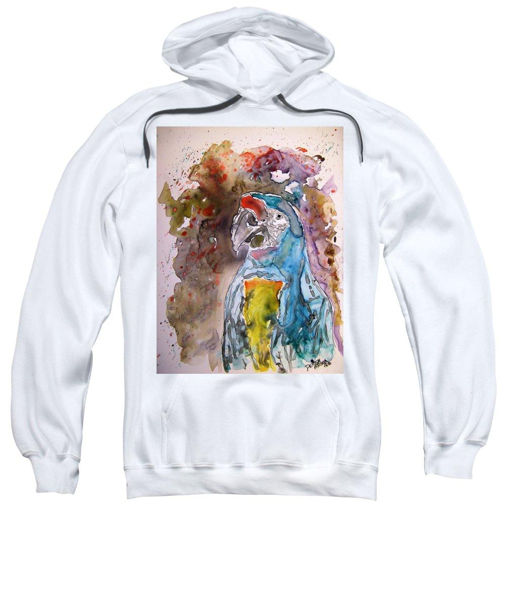 Parrot Sweatshirt featuring the painting Macaw Parrot by Derek Mccrea