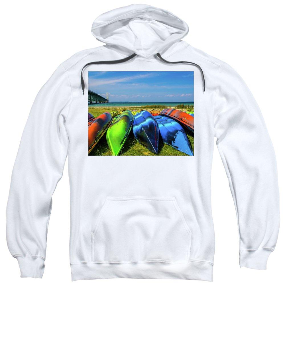 Mackinac Bridge Sweatshirt featuring the photograph Mackinac Bridge 2242 by Jana Rosenkranz