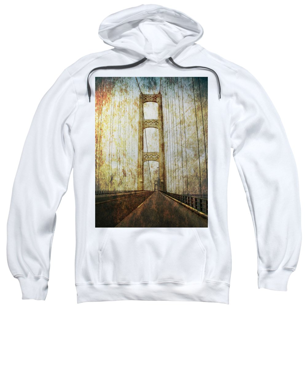 Art Sweatshirt featuring the photograph Mackinaw Bridge By The Straits Of Mackinac by Randall Nyhof