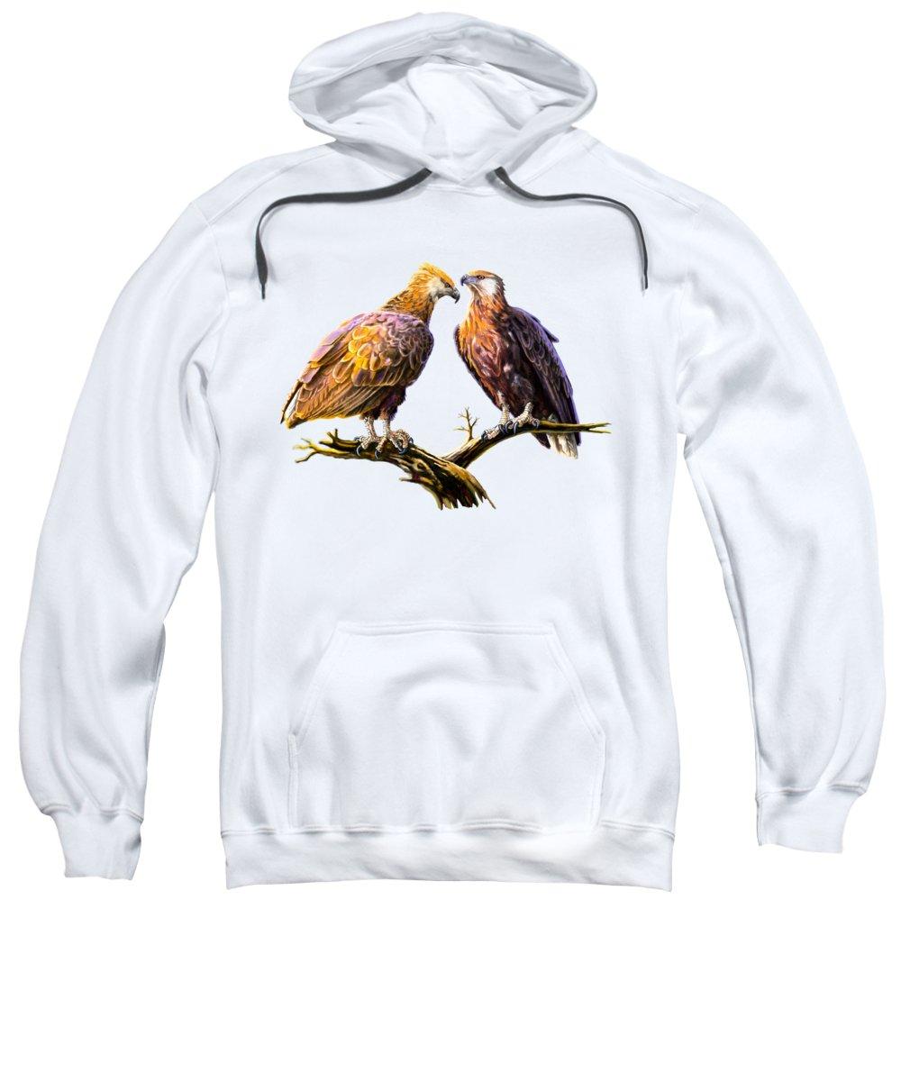 Keyan Sweatshirt featuring the painting Madagascar Fish Eagle by Anthony Mwangi
