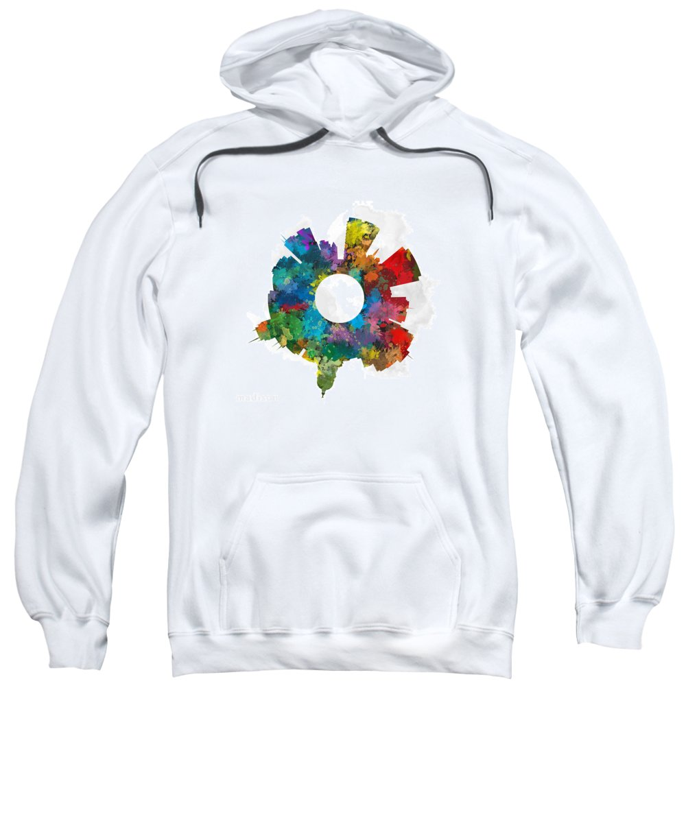 Map Sweatshirt featuring the digital art Madison Small World Cityscape Skyline Abstract by Jurq Studio