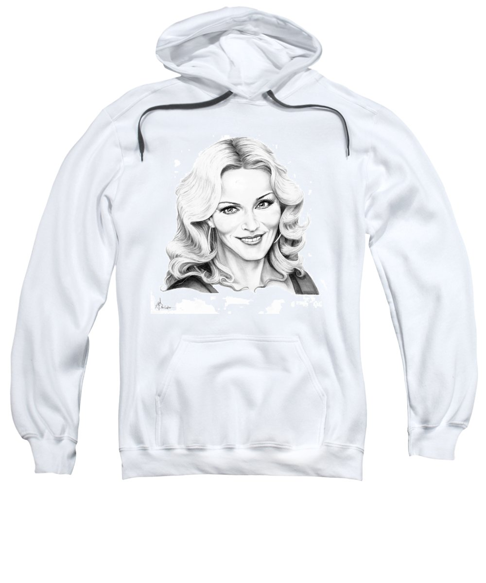 Drawing Sweatshirt featuring the drawing Madonna by Murphy Elliott