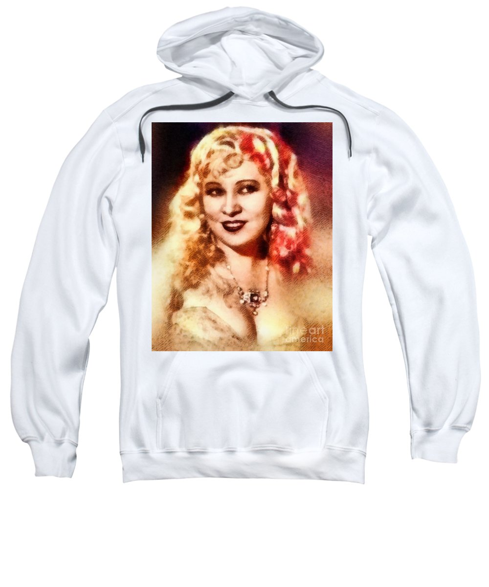 Hollywood Sweatshirt featuring the painting Mae West, Vintage Actress by John Springfield