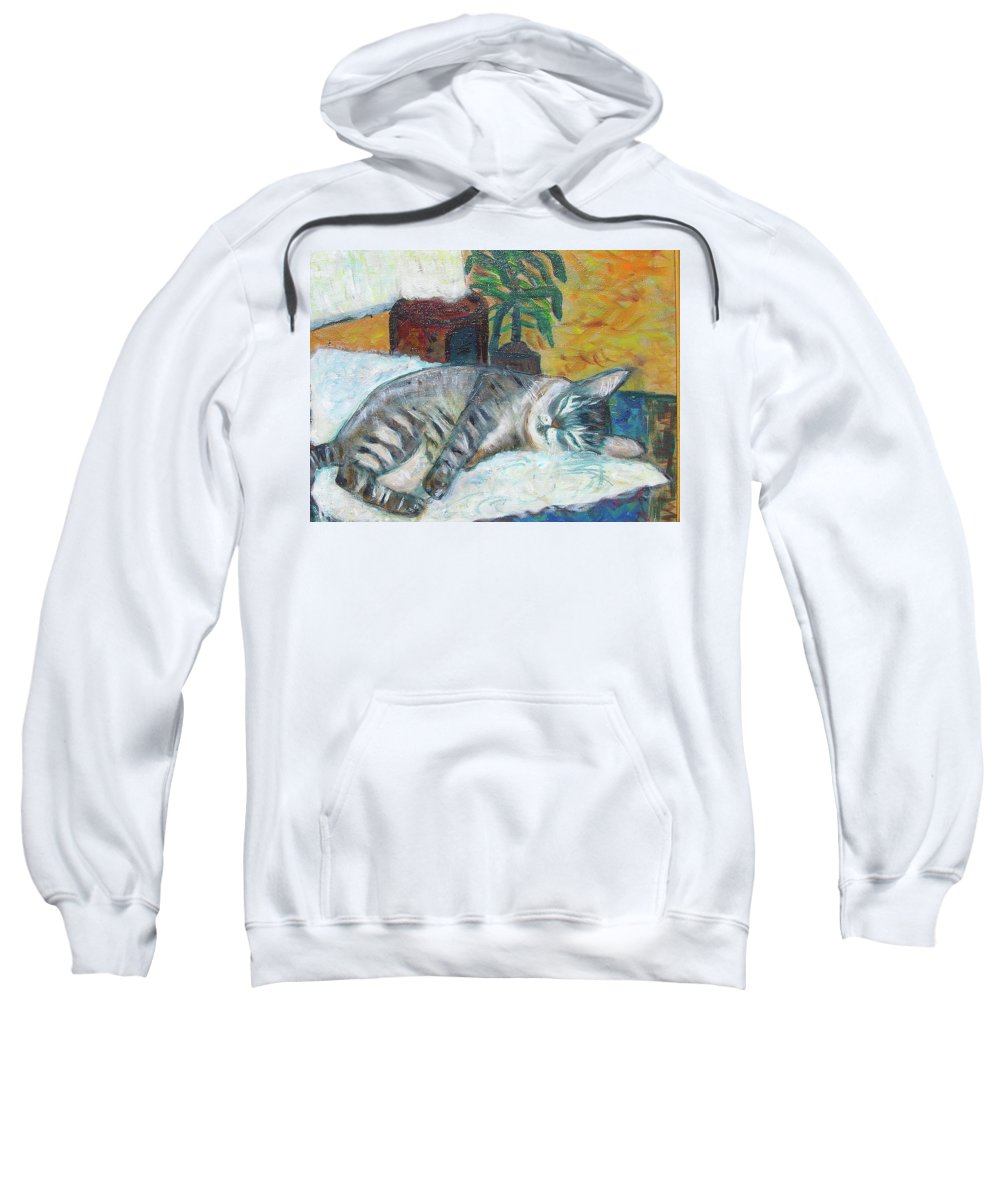 Cat Nap Sweatshirt featuring the painting Maggie Sleeping by Carolyn Donnell
