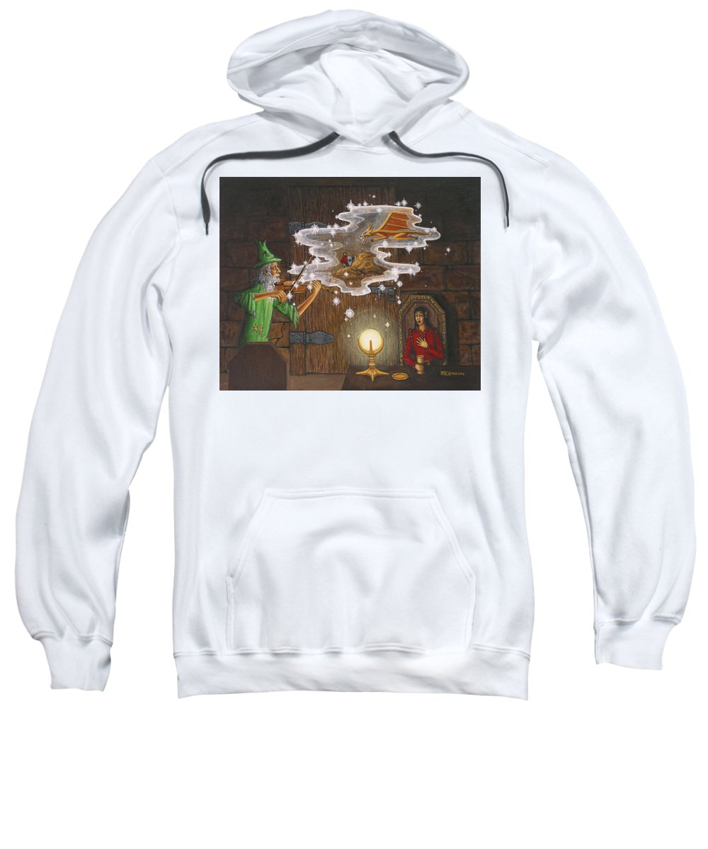 Fantasy Sweatshirt featuring the painting Magic Violin by Roz Eve
