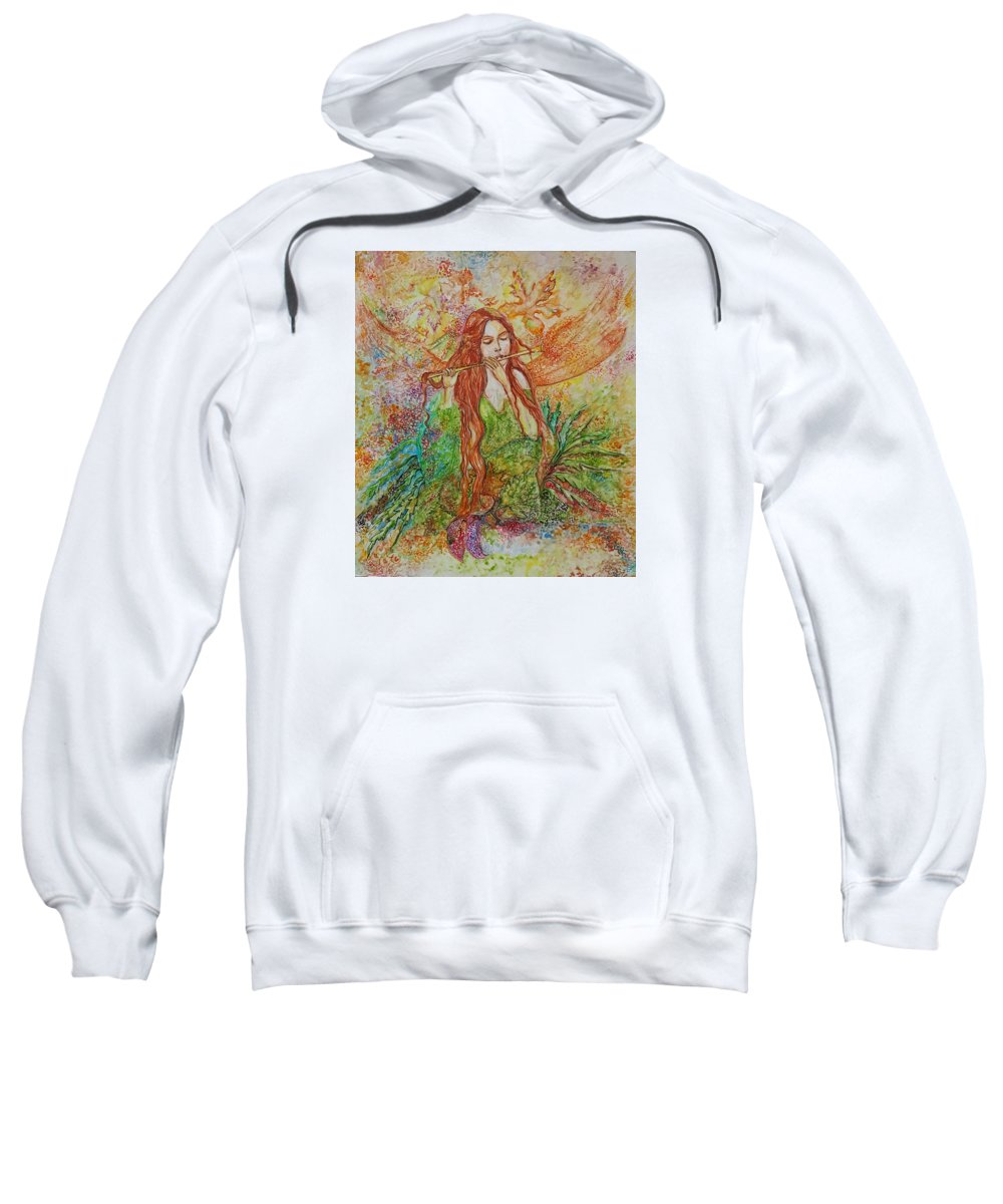 Song Sweatshirt featuring the painting Magical Song Of Autumn by Rita Fetisov