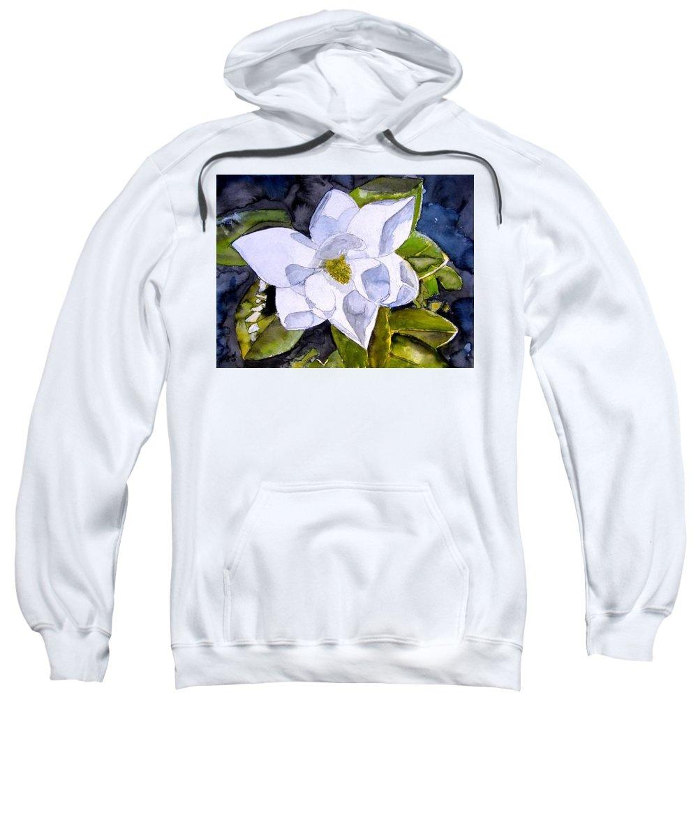 Magnolia Sweatshirt featuring the painting Magnolia 2 Flower Art by Derek Mccrea