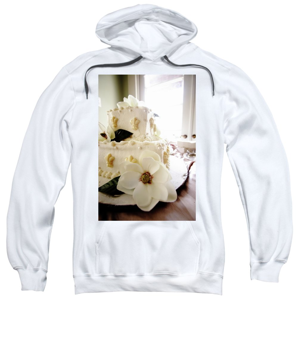 Magnolia Cake Wedding Bride Groom Party Food Sweatshirt featuring the photograph Magnolia Cake Three by Angie Covey