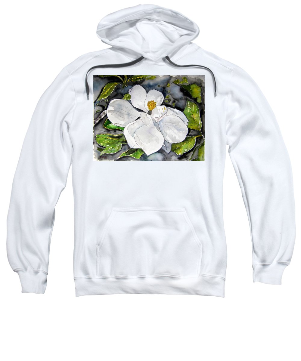 Magnolia Sweatshirt featuring the painting Magnolia Tree Flower by Derek Mccrea