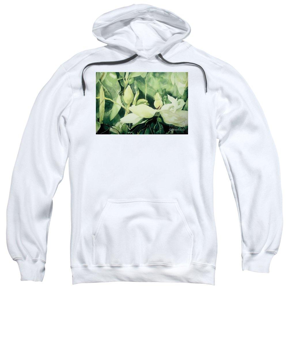 Magnolias Sweatshirt featuring the painting Magnolium Opus by Elizabeth Carr