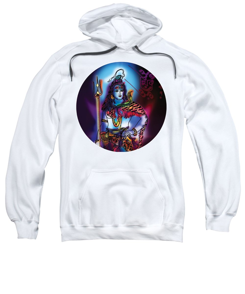 Yoga Sweatshirt featuring the painting Maheshvara Shiva by Guruji Aruneshvar Paris Art Curator Katrin Suter