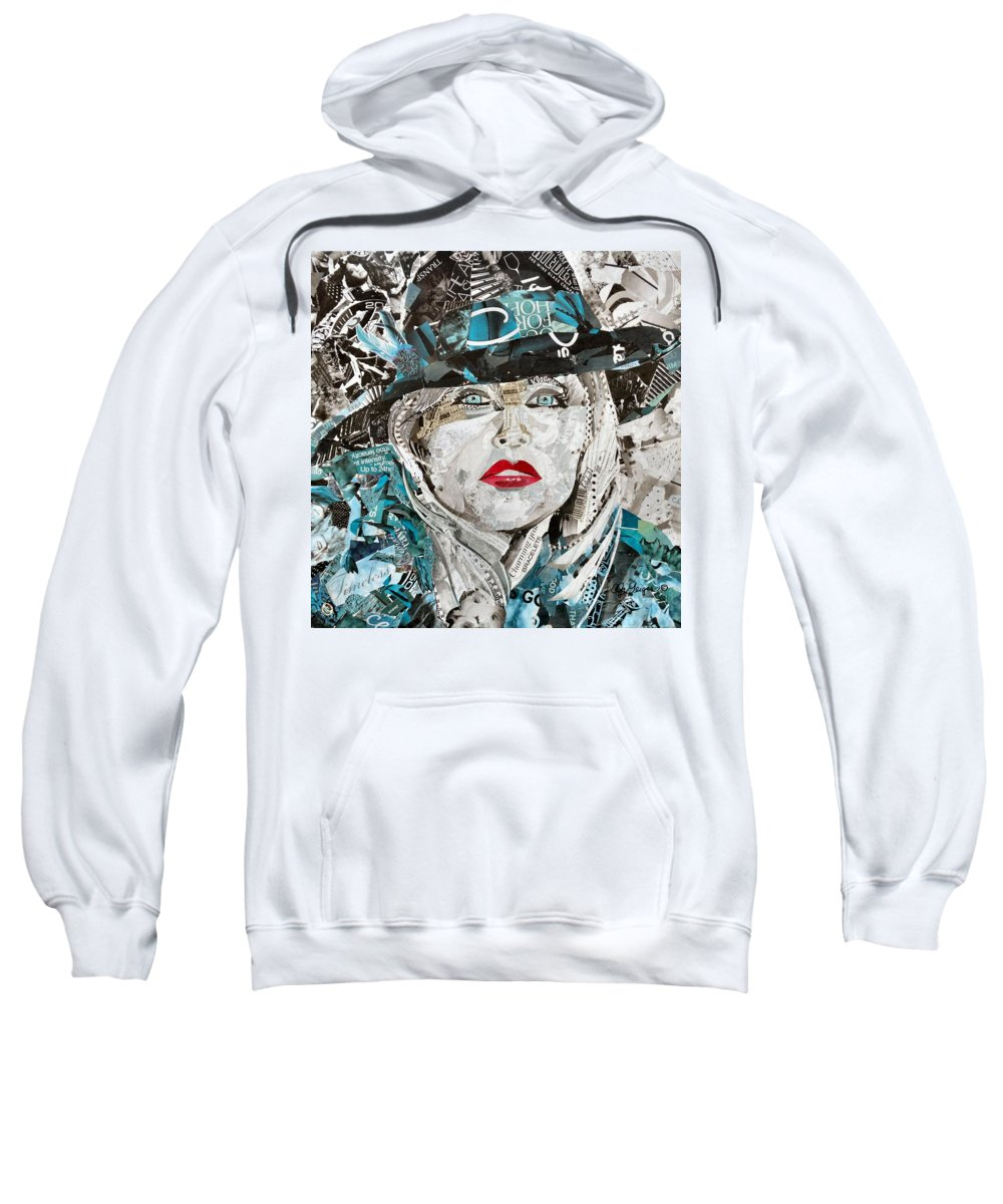 Collage Sweatshirt featuring the mixed media Mahhhvalous Dahhhling by Cathy Geiger