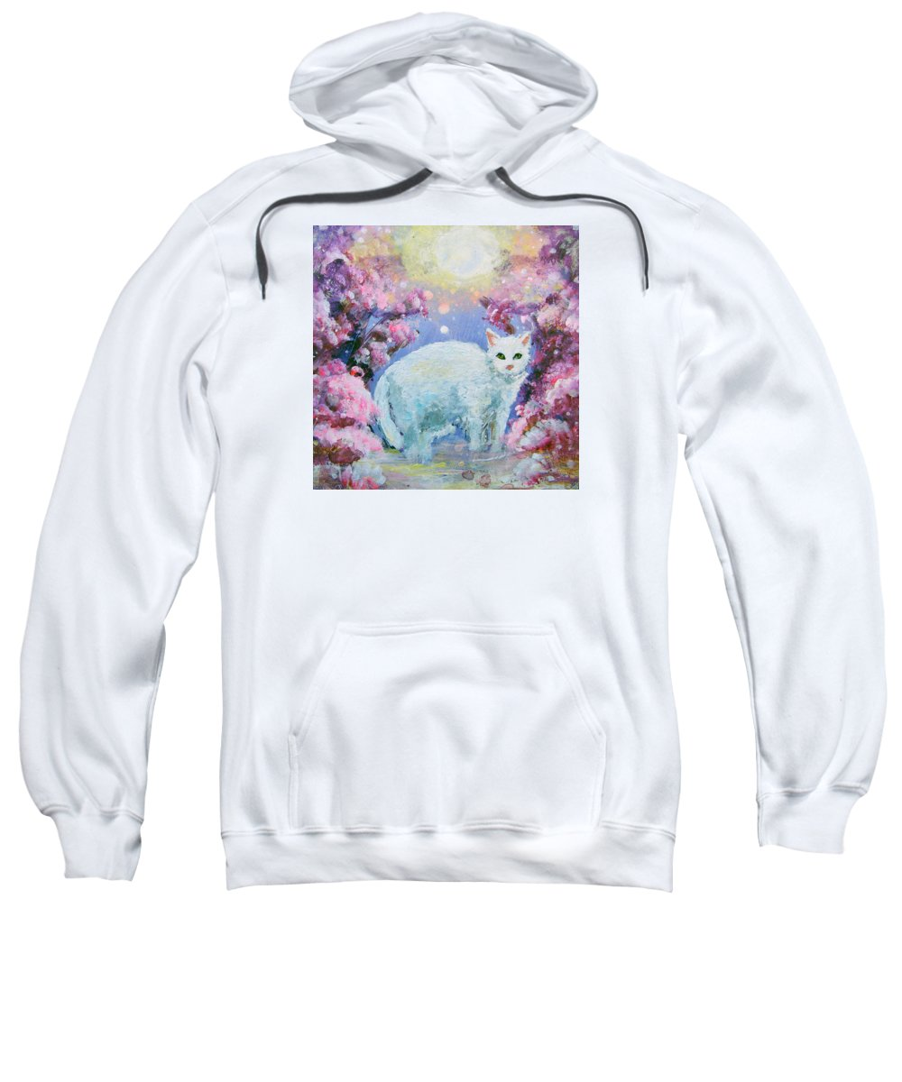 Cat Sweatshirt featuring the painting Makia by Ashleigh Dyan Bayer