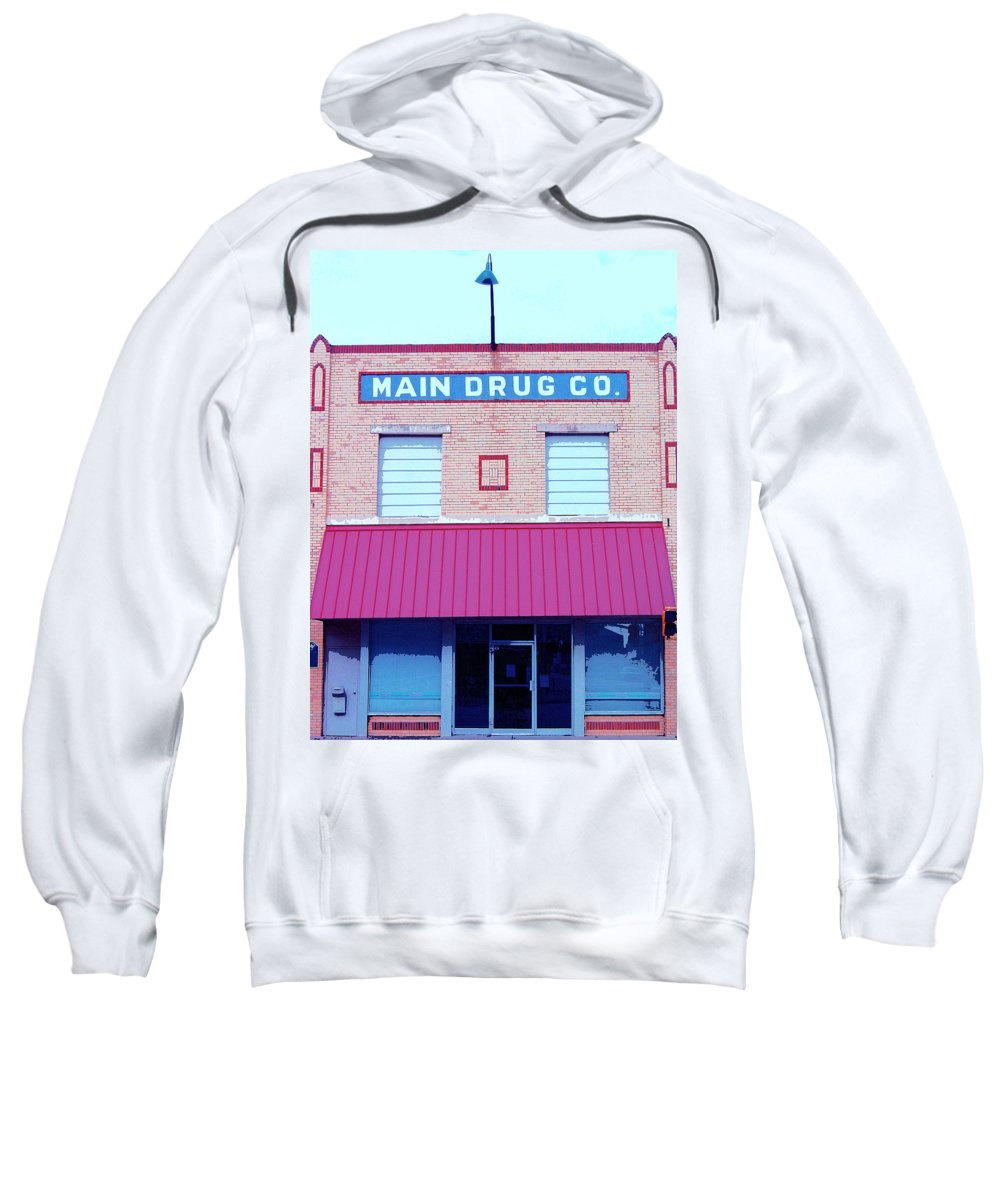 Old Building Sweatshirt featuring the mixed media Main Drug Company by Dominic Piperata