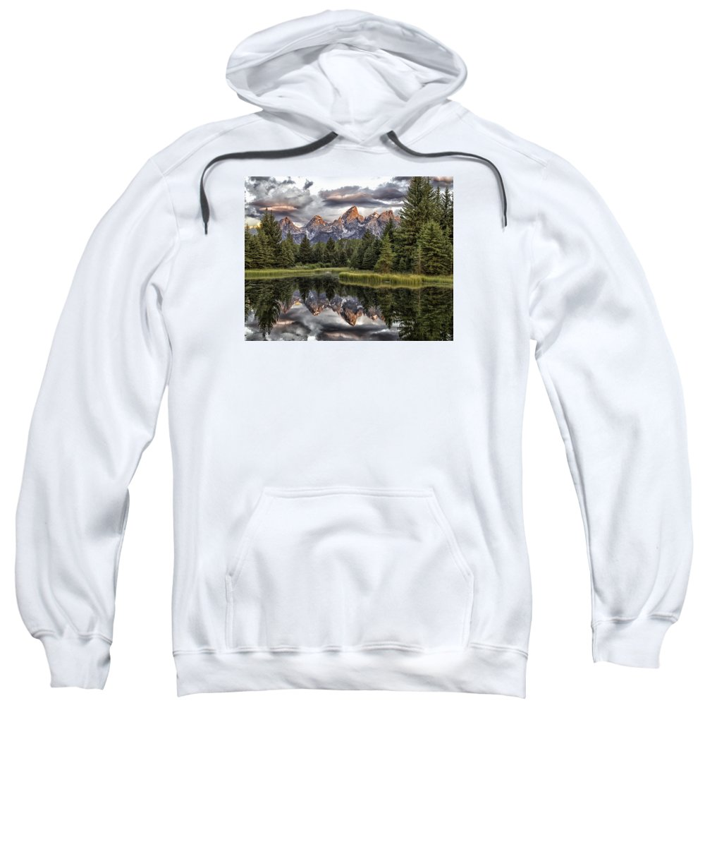 Grand Tetons Sweatshirt featuring the photograph Majestic Reflection by Elizabeth Eldridge