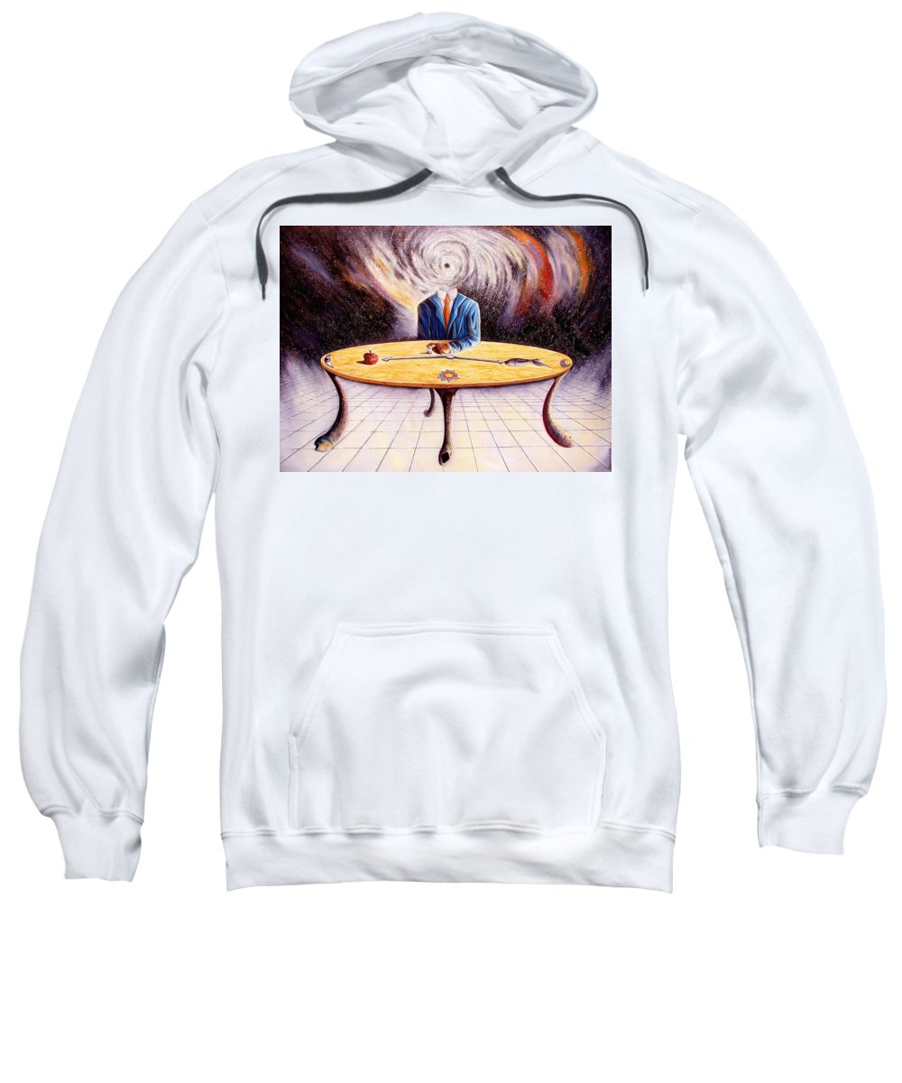 Surrealism Sweatshirt featuring the painting Man Attempting To Comprehend His Place In The Universe by Darwin Leon