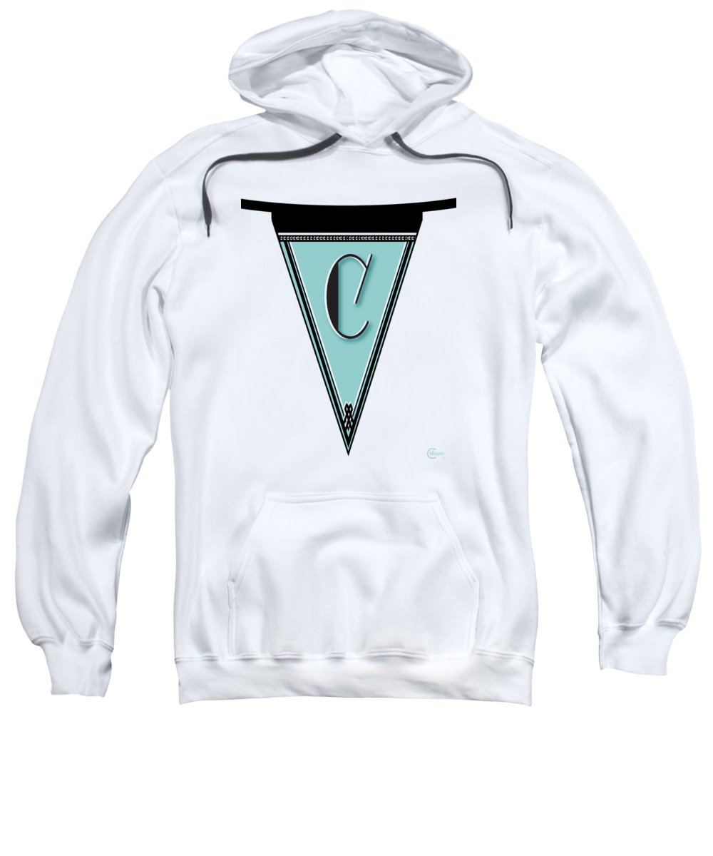 Monogram Sweatshirt featuring the digital art Pennant Deco Blues Banner Initial Letter C by Cecely Bloom