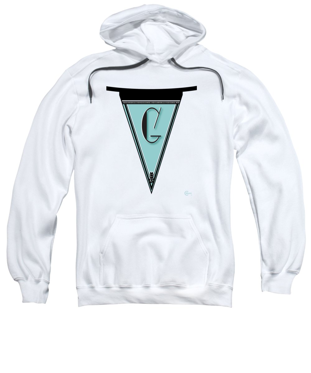 Banner Sweatshirt featuring the digital art Pennant Deco Blues Banner Initial Letter G by Cecely Bloom