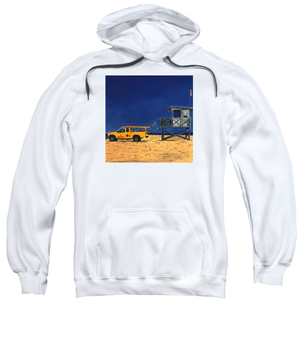 Modern Sweatshirt featuring the painting Manhattan Beach Lifeguard Station Side by Lance Headlee