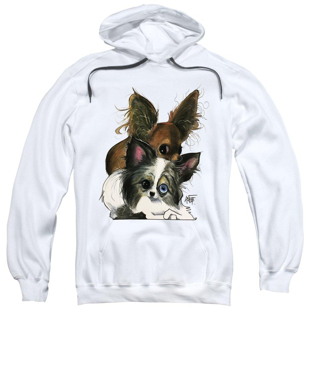 Pet Portrait Sweatshirt featuring the drawing Manning 3260 by John LaFree
