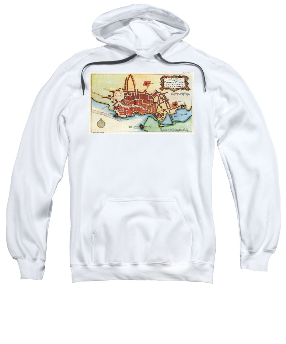 1770 Sweatshirt featuring the photograph Map: Barbados, C1770 by Granger