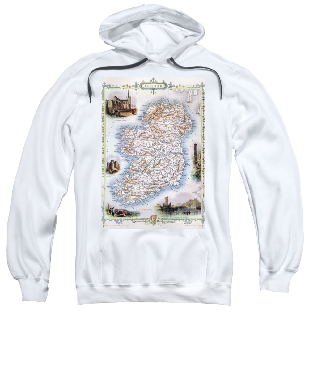 1851 Sweatshirt featuring the photograph Map: Ireland, 1851 by Granger