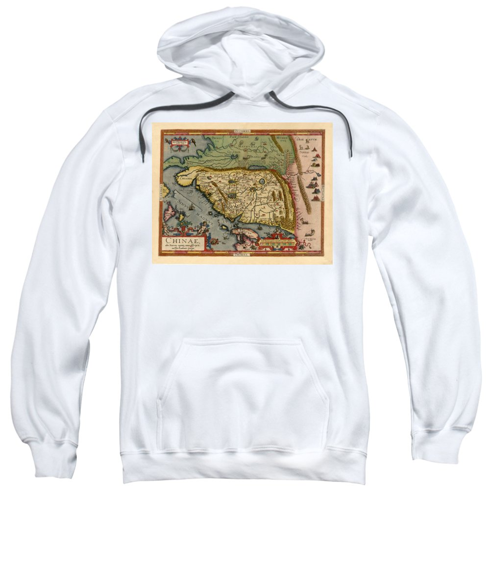 Map Of China Sweatshirt featuring the photograph Map Of China 1590 by Andrew Fare