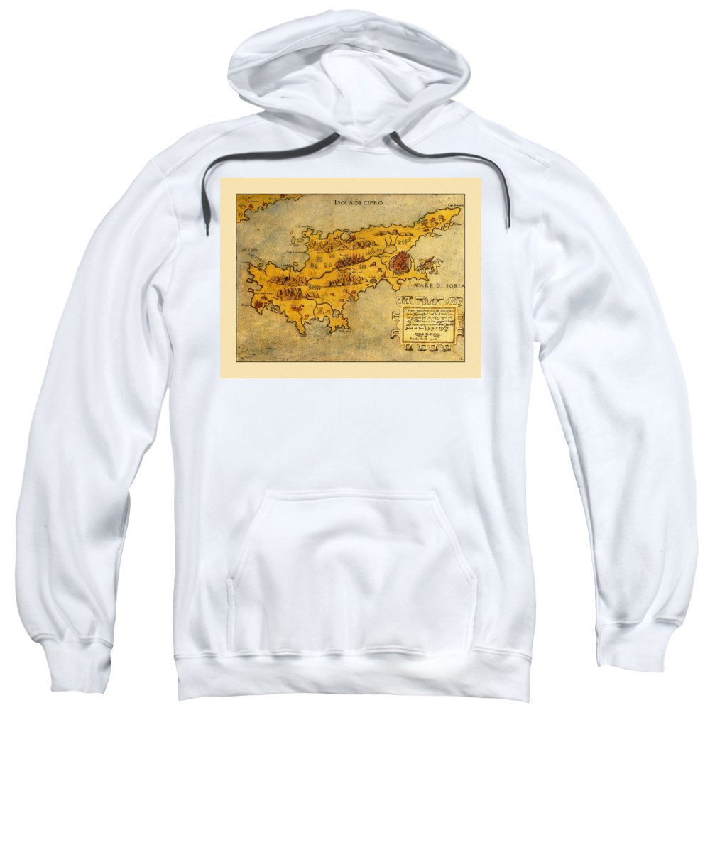Map Of Cyprus Sweatshirt featuring the photograph Map Of Cyprus 1562 by Andrew Fare
