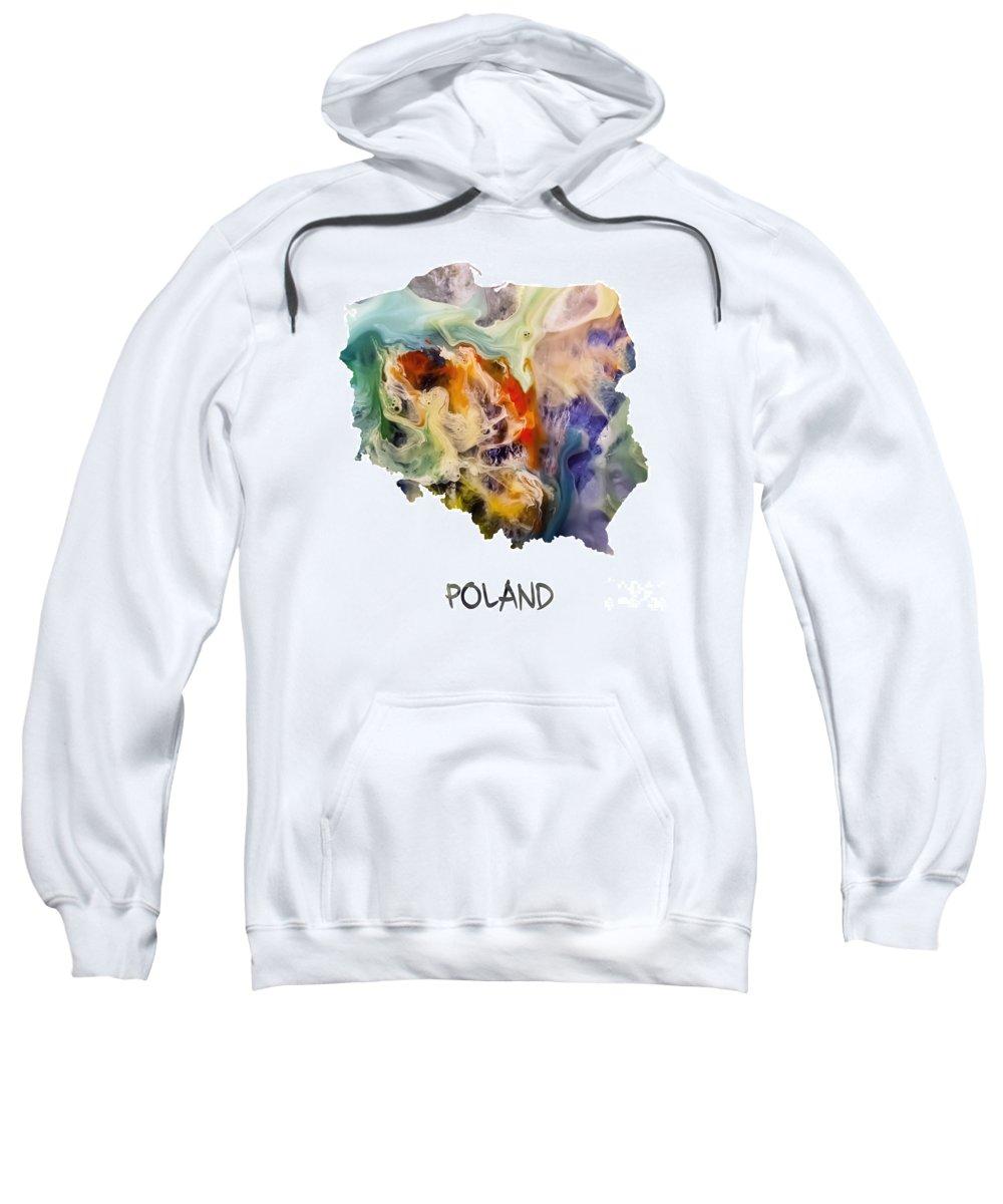 Poland Sweatshirt featuring the painting Map Of Poland Original Art by Justyna JBJart