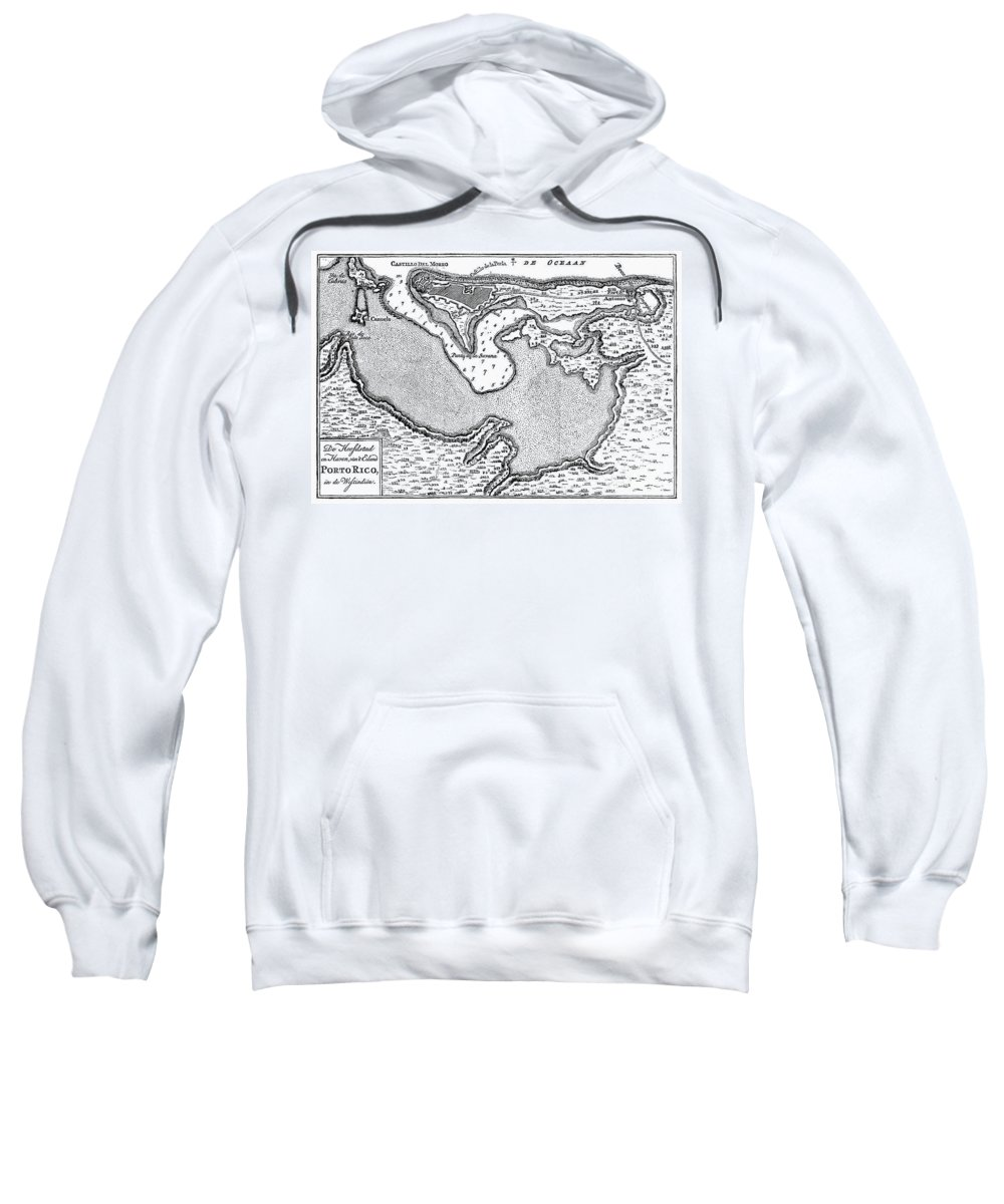 1766 Sweatshirt featuring the photograph Map Of San Juan, 1766 by Granger