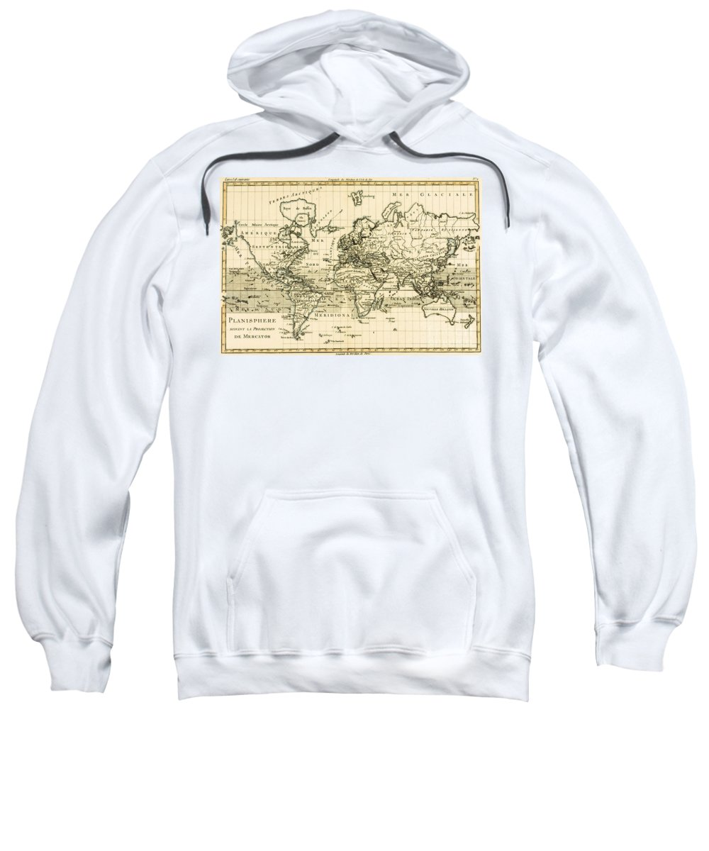 Maps Sweatshirt featuring the drawing Map Of The World Using The Mercator Projection by Guillaume Raynal