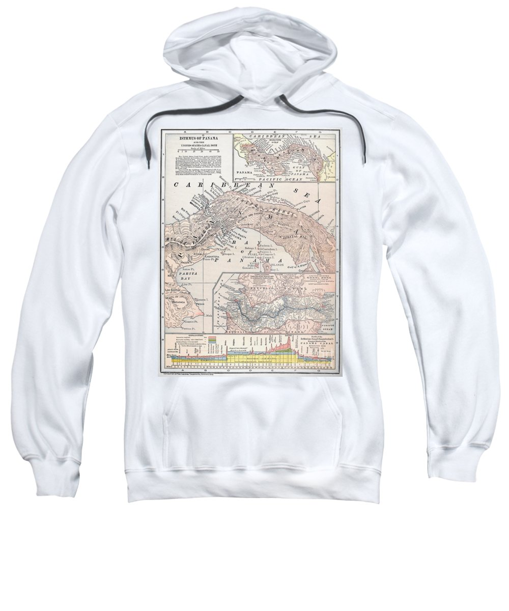 1907 Sweatshirt featuring the photograph Map: Panama, 1907 by Granger