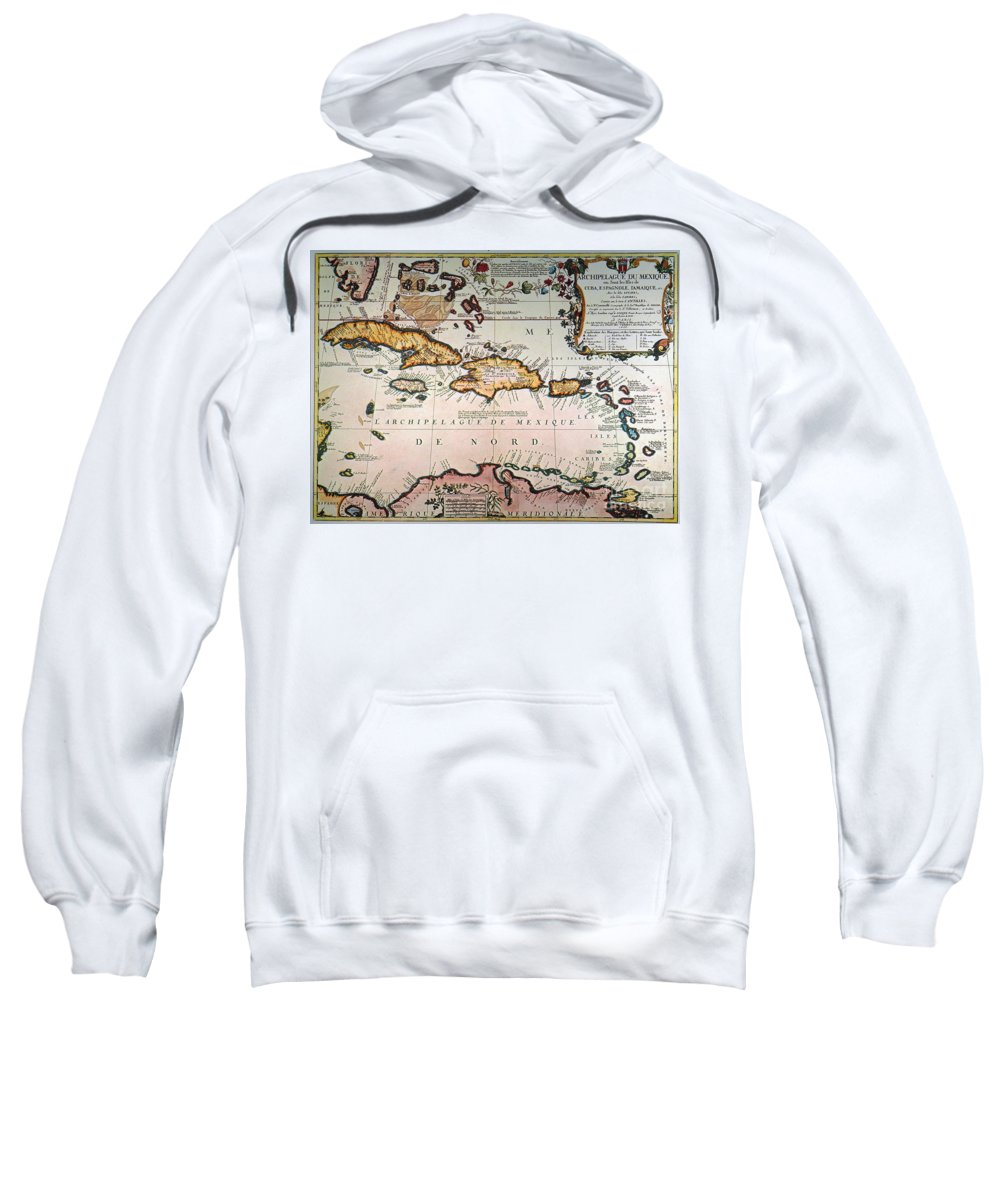 1688 Sweatshirt featuring the photograph Map: West Indies by Granger