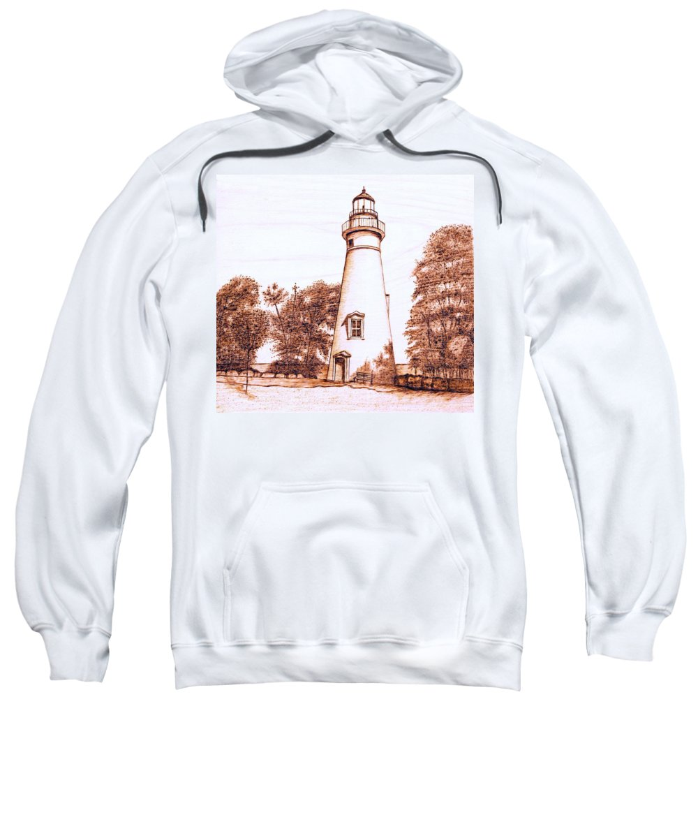 Lighthouse Sweatshirt featuring the pyrography Marblehead Lighthouse by Danette Smith