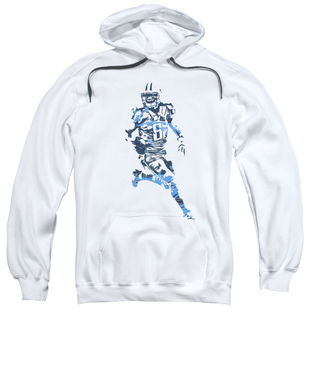 Marcus Mariota Sweatshirt featuring the mixed media Marcus Mariota Tennessee Titans Pixel Art T Shirt 3 by Joe Hamilton
