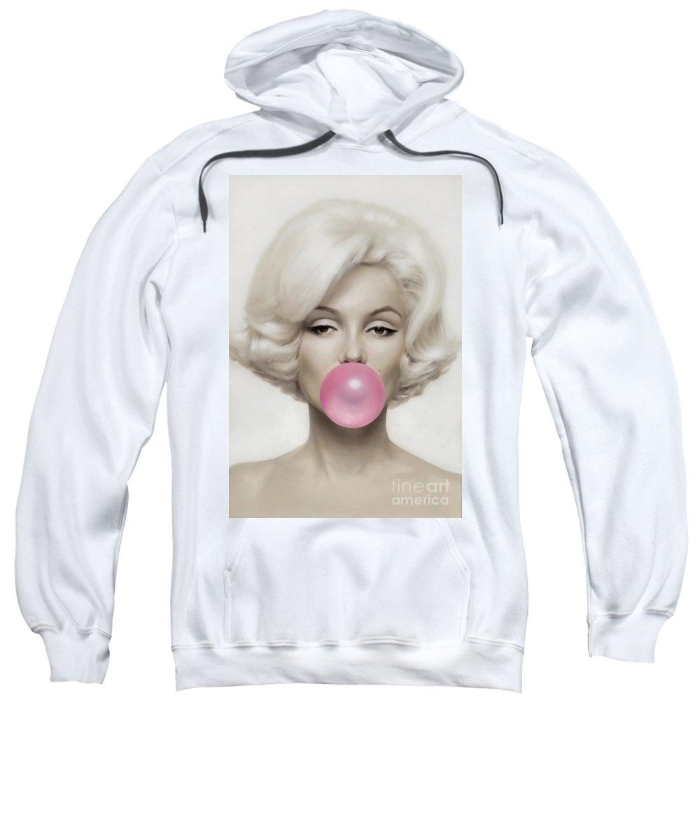 Pop Art Paintings Mixed Media Mixed Media Sweatshirt featuring the mixed media Marilyn Monroe by Marvin Blaine