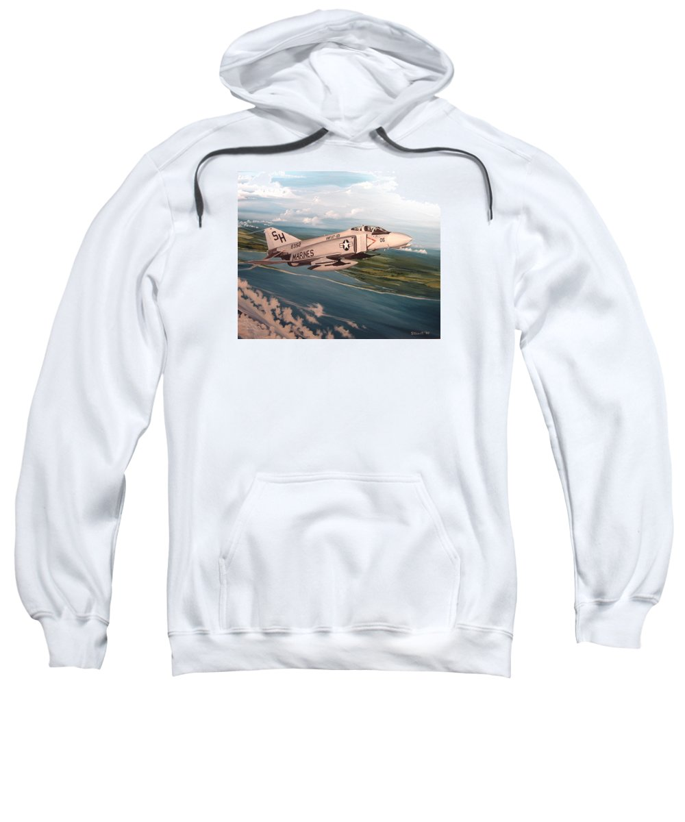 Aviation Sweatshirt featuring the painting Marine Phantom by Marc Stewart