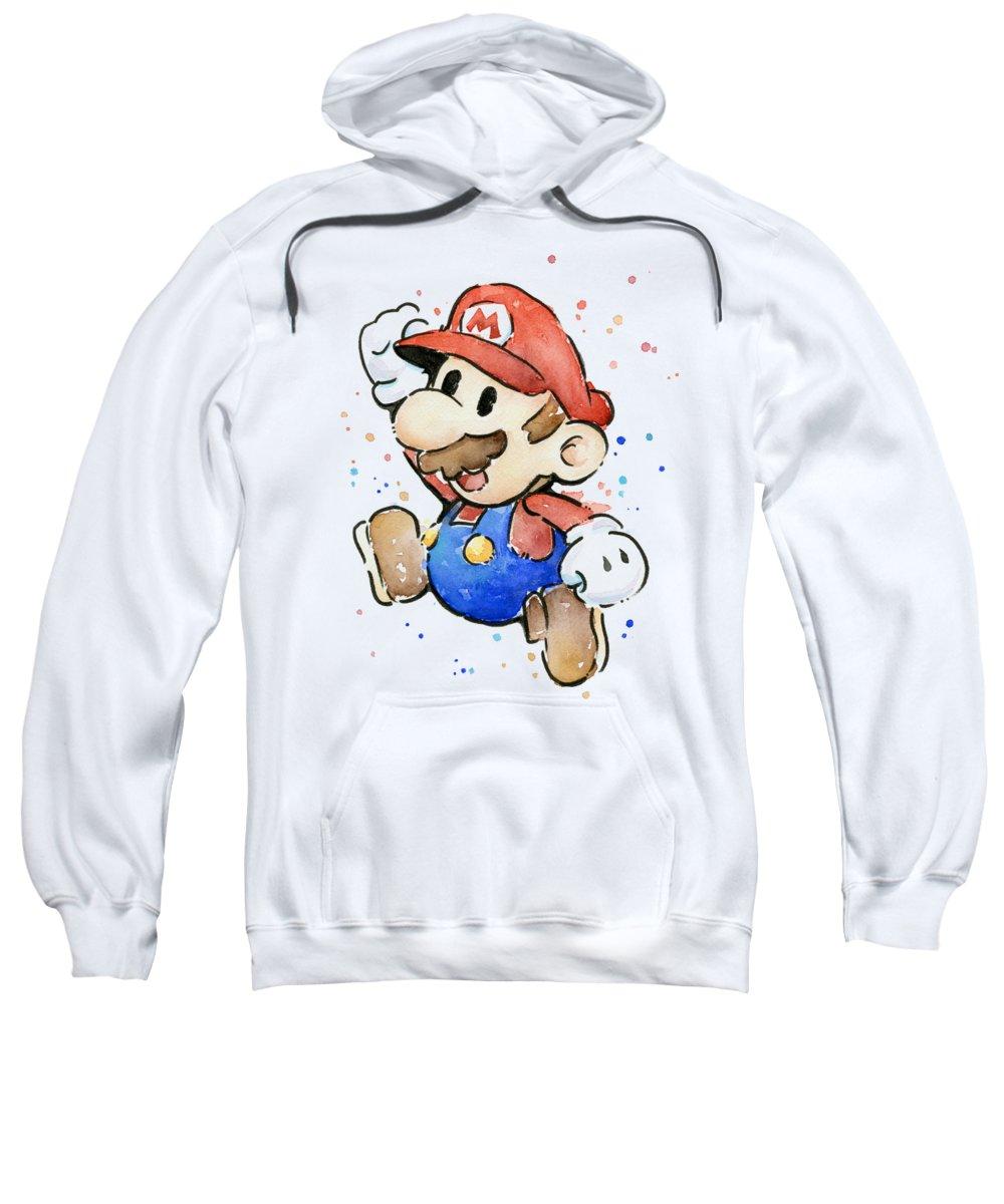 Mario Sweatshirt featuring the painting Mario Watercolor Fan Art by Olga Shvartsur