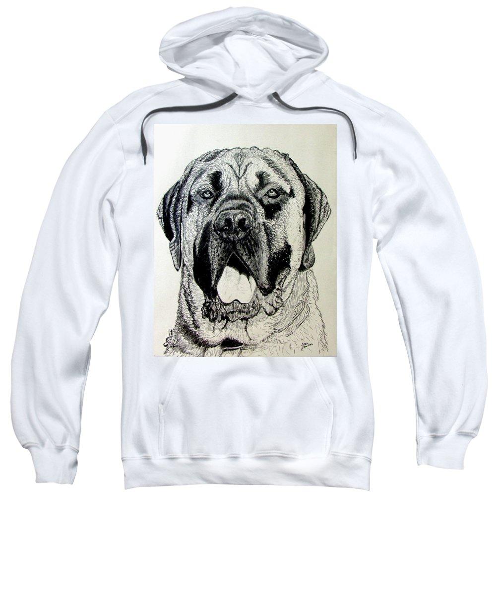 Mastiff Sweatshirt featuring the drawing Mastiff by Stan Hamilton