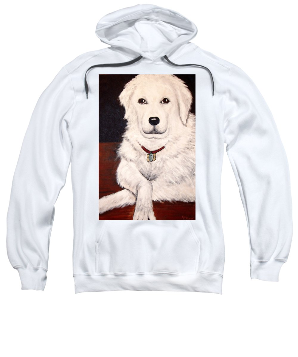 Dog Sweatshirt featuring the painting Matisse- Portrait Of A Hungarian Kuvasz by Nancy Mueller